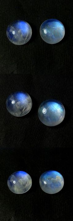 Moonstone 10237: 14X14 Mm Round Natural Blue Flash Fire Rainbow Moonstone Cabs 2 Pcs Gemstone Lot -> BUY IT NOW ONLY: $32.99 on eBay!