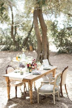 Found Vintage Rentals Dining table + Chairs #table #chairs #armchair #dining #seating #outdoors #weddingdecor #vintage #vintagefurniture #specialtyrentals #vintagerentals