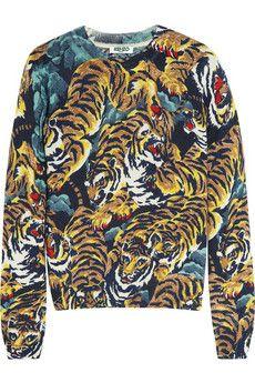 KENZO Tiger jungle-print wool sweater   NET-A-PORTER