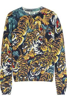 KENZO Tiger jungle-print wool sweater | NET-A-PORTER