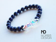 Men's Lapis Lazuli Double Swarovski Double Skull Bracelet - Michael's UK Jewellery