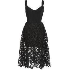 Oscar de la Renta Lace Hem Tank Dress ($3,790) ❤ liked on Polyvore featuring dresses, lace corset, lacy dress, a line tank dress, lace cocktail dress and oscar de la renta dresses