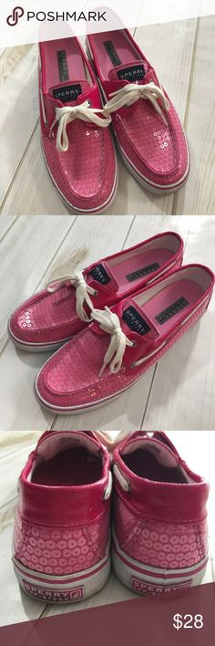 Sperry Topsider - Pink Sparkle Boat Shoes, Size 8 Sperry Topsider - Pink Sparkle Boat Shoes, Size 8   In fantastic preowned condition, only signs of wear is on bottom of shoes and slightly on sides, whites parts. Amazing condition. Please be sure to check out all of my other items, same day or next business day shipping out it's guaranteed once paid! Sperry Shoes Flats & Loafers