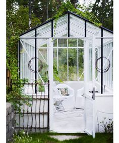 small green house for mingling or a fun area for a bar!