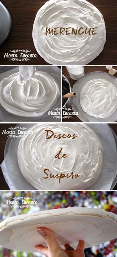 Disco de Suspiro ou de merengue. Leve, aerado, crocante, bem gostoso e muito fácil de fazer. Basta bater claras em neve, adicionar açúcar e dar o formato. Merengue Cake, Love Candy, Pool Cake, Meringue Pavlova, Cake & Co, Bakery Recipes, Cake Toppings, Mini Cakes, Cup Cakes