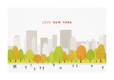 NEW YORK poster illustration Central Park art by WeaversofSouthsea, $19.00