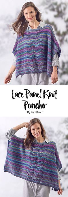 Lace Panel Knit Poncho free knit pattern in Unforgettable yarn. #ponchos