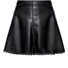 Black Scalloped Leather Eyelet Mini Skirt ($92) ❤ liked on Polyvore featuring skirts, mini skirts, bottoms, saia, scalloped skirt, mini skirt, a-line skirt, short skirts and short a line skirt