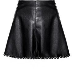 Black Scalloped Leather Eyelet Mini Skirt ($92) ❤ liked on Polyvore featuring skirts, mini skirts, bottoms, saia, short a line skirt, leather a line skirt, leather miniskirt, genuine leather skirt and scallop hem skirt