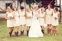 bridesmaids  bridesmaid dress cowboy boots Rustic Country southern  Theatorabridal.com