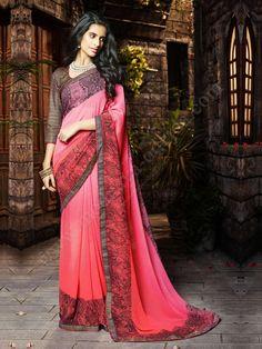 Светло-вишнёвое красивое индийское сари