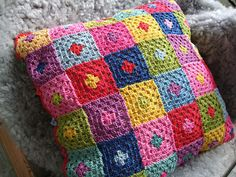 Crochet cushion cover Harlequin  Cotton  35 x 35 cm by Kysmik, $75.00
