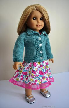 Hand Knitted 18 Inch American Girl Doll Clothing: Summer Sky