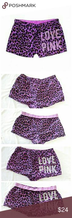 VS PINK Leopard Sleep Shorts Fun colirful VS shorts in excellent condition. Thevwaistbank can be worn up or rolled down. They have only been worn a few times. 💥 Reasonable Offers Accepted 💥 PINK Shorts