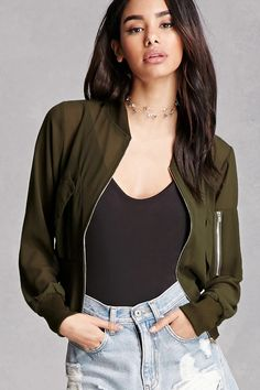 A sheer woven jacket featuring a cropped silhouette, zip-up front, two front flap pockets, ribbed trim, and long sleeves. This is an independent brand and not a Forever 21 branded item.