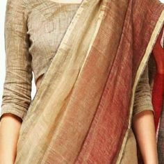 Pure linen saree with blouse Indian Attire, Indian Wear, Indian Outfits, Indian Clothes, Kota Sarees, Indian Sarees, Kalamkari Saree, Silk Sarees, Saris