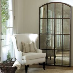 Look at how amazing this mirror is. (Amiel Arch Antiqued Leaner Mirror by Ballard Design) Arch Mirror, Window Mirror, Floor Mirrors, Mirror Panels, Mirror Art, Leaner Mirror, Arched Windows, Ballard Designs, Decoration
