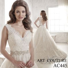 Aline tulle wedding dress with lace appliques on the hem, bodice and straps, a v-back and beaded waistband. AC445 is available in Ivory, White or Ivory Oyster. Call us or visit our facebook page to find your nearest retailer. #artcouture #eternitybridal #weddings #bigday #bridal #bridalgowns #gettingmarried #weddingfashion #weddingdress #bigdress #fairytaledress