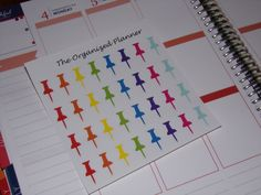 Rainbow Push Pin Stickers / Office Stickers / Planner Stickers / Erin Condren Life Planner / Filofax / Bullet Journal by TheOrganizedPlanner on Etsy