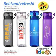 27 oz BPA free Executive Water Bottle Promotion. www.abetteridea.com/promotional-item-specials-a-logo-produc… #promotionalproducts #waterbottles #advertising #sportsbottles