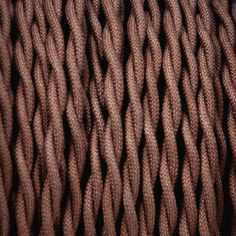 2-Conductor 18-Gauge Dark Brown Cotton Twisted Pair Wire -- cloth-covered electrical wire