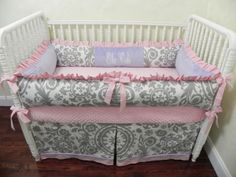 Baby Bedding Crib Set Ella Kate - Gray Suzani Pink Lavender : Just Baby Designs, Custom Baby Bedding Custom Crib Bedding Custom Nursery Bedding