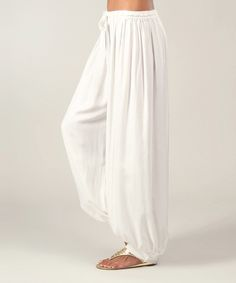 White Drawstring Harem Pants