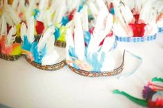 Twins Pow Wow themed birthday party via Kara's Party Ideas KarasPartyIdeas.com Printables, invitation, cake, cupcakes, decor, food, favors, recipes, and more! #powwow #indianparty #nativeamerican #twinparty (36)