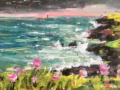 nWe're feeling the spring vibes through Alex Arnell's 'Sea spray with pink flowers' nn Sea Spray, Cityscapes, Contemporary Paintings, Elvis Presley, Online Art Gallery, New Art, Pink Flowers, Abstract Art, Landscapes