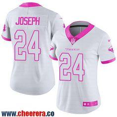 Women's Houston Texans #24 Johnathan Joseph White Pink 2016 Color Rush Fashion NFL Nike Limited Jersey