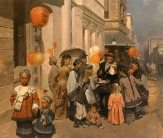 """Toy Peddler of Dupont Street, Chinatown,S.F. 1905 by Mian Situ LIMITED EDITION CANVAS Image size: 23""""w x 27""""h.  Limited Edition of: 30"""