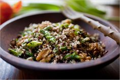 Recipes for Health - Wild Rice and Brown Rice Salad with Walnuts and Asparagus- NYTimes.com