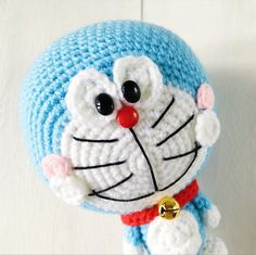 Hello my dear friends! I'm back again with another brand new amigurumi pattern. Behold, the mystical blue cat with an infinity pocket: Doraemon! I had to re-do the head a few times as I was u… Crochet Eyes, Easy Crochet, Crochet Baby, Free Crochet, Crochet Patterns Amigurumi, Amigurumi Doll, Doraemon, Crochet Gifts, Stuffed Toys Patterns