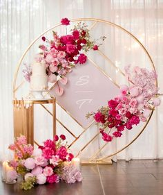 Pretty In Pink Stunning florals and set up featuring our Gloss Gold Geo Round Screen Dior Table Stylist eventsbykahlia Prop Wedding Backdrop Design, Wedding Stage Decorations, Backdrop Decorations, Wedding Themes, Wedding Designs, Party Backdrops, Wall Backdrops, Ceremony Backdrop, Wedding Stage Backdrop