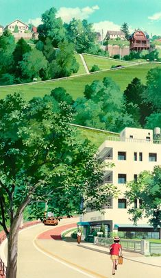 "ghibli-collector: ""Spirited Away Hayao Miyazaki Vs. Whisper of the Heart Yoshifumi Kondo "" Studio Ghibli Background, Animation Background, Studio Ghibli Art, Studio Ghibli Movies, Hayao Miyazaki, Japon Illustration, Howls Moving Castle, Anime Scenery, Animes Wallpapers"