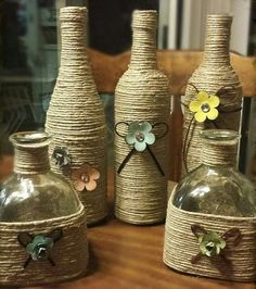 Obiecte decorative din sfoara – Vedem aici idei de a decora sticlele, dar nu numai