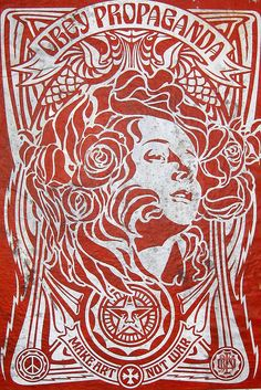 nyc brooklyn williamsburg motug collective obey giant nouveau red is part of Obey art - NYC Brooklyn Williamsburg MÖTUG collective OBEY Giant Nouveau Red Streetart Poster Street Graffiti, Graffiti Art, Yarn Bombing, Nyc, Obey Art, Illustration Photo, Fleur Design, Propaganda Art, Peace Art