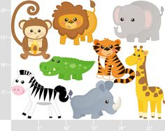 Cute Jungle Animals Digital Clip Art Personal and door printcandee