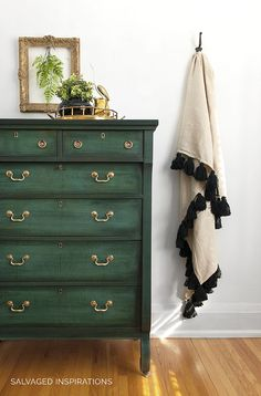 How To Layer Chalk Paint Tutorial | Green Chalk Painted Empire Dresser and Tassel Blanket by Salvaged Inspirations