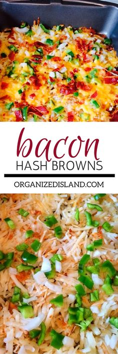 Bacon Hash Browns Create a dish the whole family will love in under one-hour! Top frozen Ore-Ida Shredded Hash Browns with peppers, onions, cheese and bacon for an easy breakfast! Crockpot Breakfast Casserole, Casserole Recipes, Brunch Casserole, Bacon Recipes, Brunch Recipes, Easy Recipes, Popular Recipes, Drink Recipes, Dinner Recipes