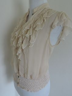 ]Top Shirt Blouse Cream Sheer Vintage Look Missing Button S M #Unlabeled #Top