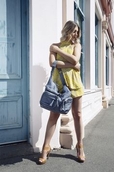 Perfect summer OOTD featuring the Giselle bag in denim. #summerfashion #cadelleleather #leatherbag