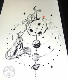 """Mais um desenho do Pequeno Príncipe!!! Faaui uns dias viro desenhista oficial dele rsrsrs!!! . Como disse no SNAP: o desenho está disponível pra ser tatuado amanhã """"domingo"""" quem tiver interesse na arte me chame no direct !! Valor bacana pra quem realmente kiser a arte!!! Valeeeeu . SNAP: Kadutattoo . #Kadutattoo #drawing #sketch #rascunho #thelittleprince #littleprince"""