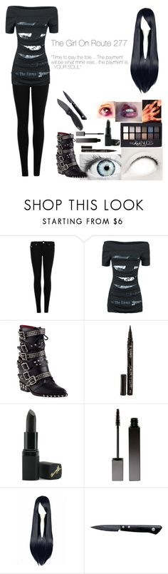 """creepypasta oc : The girl on route 277"" by mountaindewqueen15 ❤ liked on Polyvore featuring True Religion, Alchemy England, Jeffrey Campbell, Smith & Cult, Maybelline, Barry M, Serge Lutens, Kyocera and Kershaw"