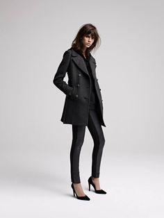 DORSOPHILE Manteau caban en laine   Wool peacoat DISPUTE Legging bimatière  avec cuir surpiqué   Top f10236228613