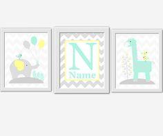 Baby Nursery Art Yellow Gray Mint Green Elephant Giraffe Bird Personalize Monogram Baby Boy Baby Girl Nursery Decor Chevron Nursery Wall Art