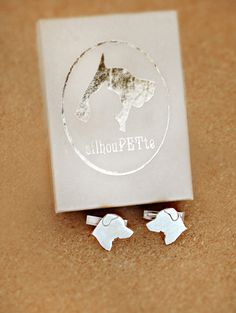 SilhouPETte Dog Silhouette Cufflinks - can choose your breed or get a custom cufflink of your own dog! LOVE!