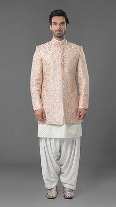 3282218e54d Orange floral MM classical zardosi indowestern sherwani with qurta.To order  whatsapp 91-8888328116, ethnicdia@gmail.com