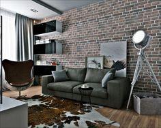 industrial chic-wohnzimmer samtig-sofa indoor-kamin mit ...
