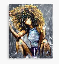 Naturally Nia Canvas Print by Art Black Love, Black Girl Art, Black Art For Sale, Black Girls, Black Women, Black Art Painting, Black Artwork, Cg Artwork, Art Afro Au Naturel